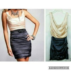 Express Mini Blush Gray Ruched Cocktail Dress